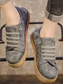 Grey Round Toe Flat Lace-up Casual Ankle Shoes