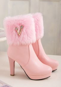 Pink Round Toe Chunky Rhinestone Fashion Ankle Boots