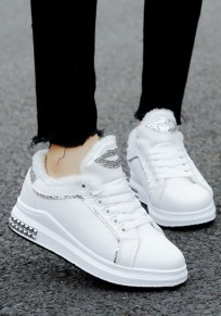 White Round Toe Flat Sequin Lace-up Fashion Ankle Shoes