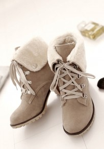 Beige Round Toe Chunky Lace-up Fashion Ankle Boots