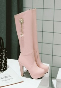 Pink Round Toe Chunky Pearl Chain Fashion Knee-High Boots