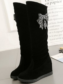 Black Round Toe Within The Higher Fashion Knee-High Boots