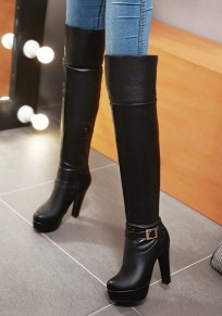 Black Round Toe Chunky Buckle Fashion Over-The-Knee Boots