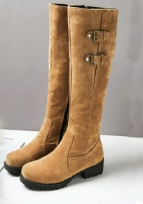 Yellow Round Toe Chunky Double Buckle Fashion Knee-High Boots