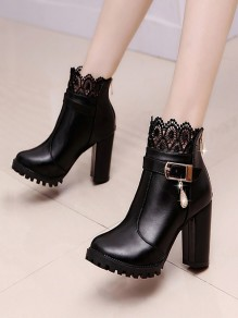 Black Round Toe Chunky Rhinestone Buckle Fashion Ankle Boots