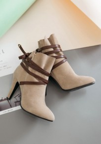 Apricot Point Toe Stiletto Cross Strap Fashion Ankle Boots