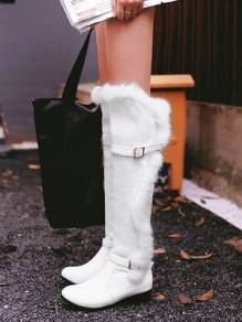 White Round Toe Chunky Fur Buckle Fashion Knee-High Snow Boots