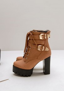 Brown Round Toe Lace-up Chunky Fashion Ankle Boots
