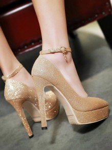 Golden Point Toe Stiletto Buckle Fashion High-Heeled Shoes