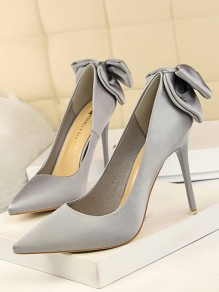 Silver-Grey Point Toe Stiletto Bow Fashion High-Heeled Shoes