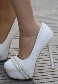 White Round Toe Stiletto Pearl Fashion High-Heeled Shoes