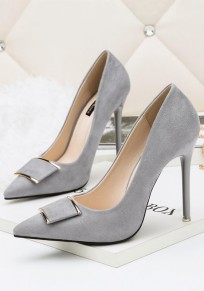 Grey Point Toe Stiletto Metal Decoration Fashion High-Heeled Suede Shoes