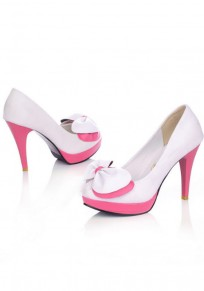 White Round Toe Stiletto Bow Fashion High-Heeled Shoes