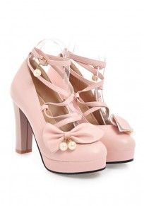 Pink Round Toe Chunky Cross Strap Bow Pearl Fashion High-Heeled Shoes