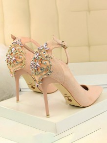 Pink Point Toe Stiletto Rhinestone Fashion High-Heeled Shoes