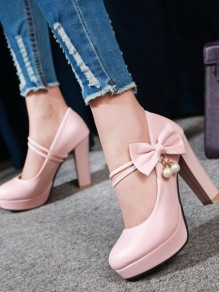 Pink Round Toe Bow Pearl Chunky Sweet High-Heeled Shoes
