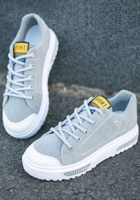 Grey Round Toe Flat Patchwork Casual Ankle Shoes