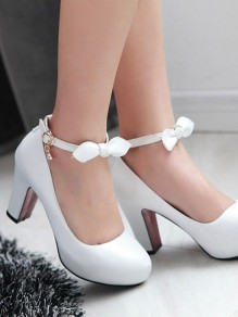 White Round Toe Chunky Bow Buckle Sweet High-Heeled Shoes