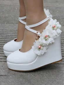 White Round Toe Ankle Cross Strap Flowers Sweet Wedding Prom Wedges Shoes