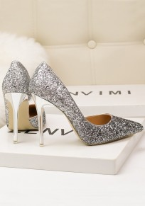 Silver Point Toe Stiletto Sequin Fashion High-Heeled Shoes