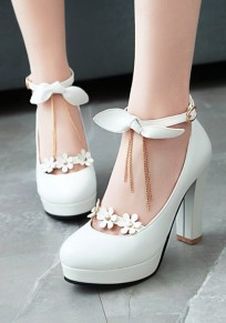 White Round Toe Chunky Chain Bow Flower Buckle Sweet High-Heeled Shoes