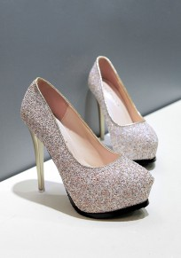 Champagne Round Toe Stiletto Sequin Fashion High-Heeled Shoes