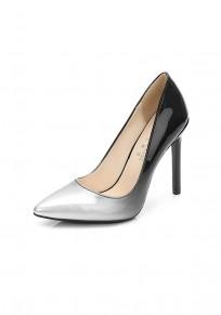 Silver Point Toe Stiletto Patchwork Fashion High-Heeled Shoes