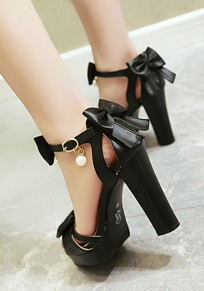 Black Round Toe Chunky Bow Pearl Fashion High-Heeled Sandals