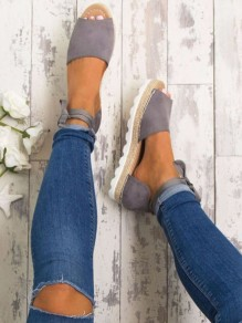 Grey Round Toe Lace-up Casual Ankle Shoes