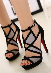 Black Round Toe Stiletto Patchwork Cut Out Fashion High-Heeled Sandals