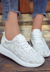 White And Grey Round Toe Flat Patchwork Casual Ankle Shoes