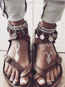 Brown Cross Round Toe Flat Metal Decoration Buckle Summer Roman Hippie Boho Women's Sandals
