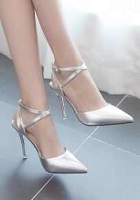 Silver Point Toe Stiletto Buckle Fashion High-Heeled Sandals