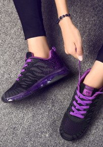 Black And Purple Round Toe Flat Patchwork Casual Shoes