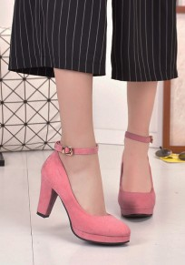 Pink Round Toe Chunky Buckle Fashion High-Heeled Shoes