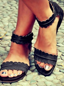 Black Round Toe Flat PU Leather Buckle Roman Ankle Sandals
