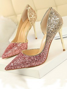 Rose Carmine Point Toe Stiletto Sequin Patchwork Fashion High-Heeled Shoes