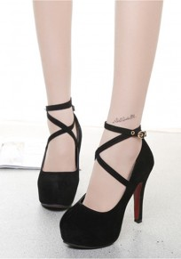 Black Round Toe Stiletto Fashion High-Heeled Shoes
