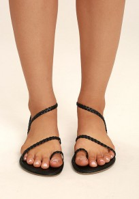 Black Round Toe Flat Casual Ankle Sandals