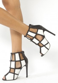 Black And White Piscine Mouth Stiletto Cut Out Fashion High-Heeled Sandals