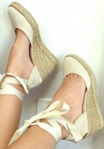Beige Round Toe Wedges Lace-up Fashion Ankle Sandals