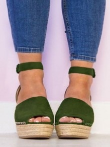 Army Green Round Toe Wedges Buckle Fashion High-Heeled Sandals