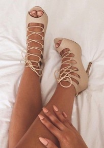 Apricot Piscine Mouth Stiletto Cut Out Cross Strap Fashion High-Heeled Sandals