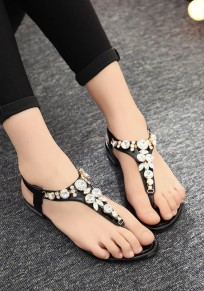 Black Round Toe Rhinestone Fashion Ankle Sandals