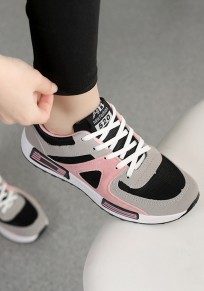 Grey And Pink Round Toe Flat Lace-up Casual Shoes