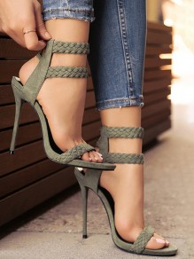 Army Green Round Toe Stiletto Lace-up Fashion High-Heeled Sandals