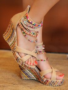 Apricot Round Toe Wedges Beads Fashion High-Heeled Sandals