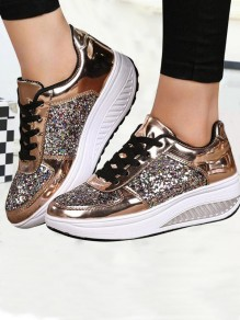 Golden Round Toe Flat Sequin Fashion Heavy-Soled Shoes