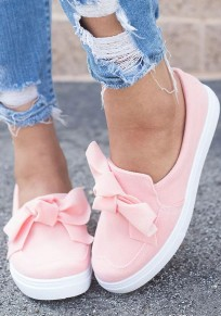 Pink Round Toe Flat Bow Fashion Shoes