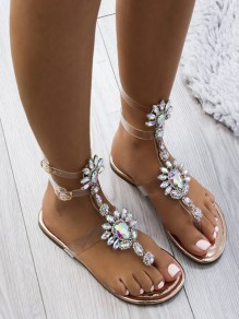 Golden Round Toe Rhinestone Fashion Ankle Sandals
